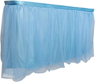 Royal Imports 9 ft Blue Tulle Table Skirt, Tulling Tablecloth for Wedding, Birthday Party, Bridal, Baby Shower, Home Decor...