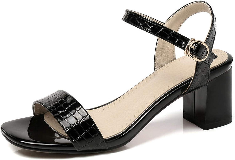 Women Sandals Patent Leather Women shoes Buckle Elegant Square High Heel Women Sandals