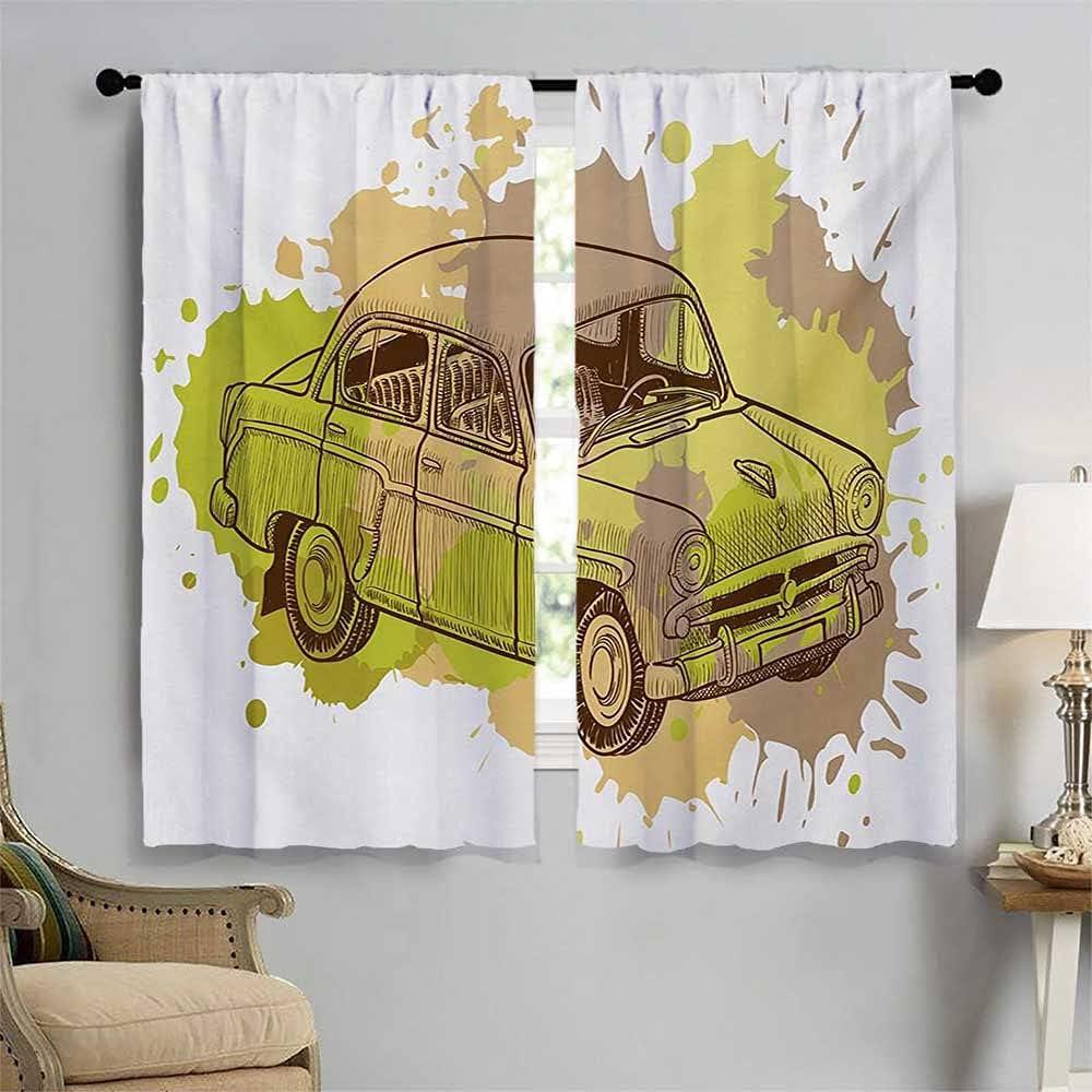 Doodle Window Curtain Drape Vintage Car Splashes Retro Spring new work Design Ranking TOP13 In