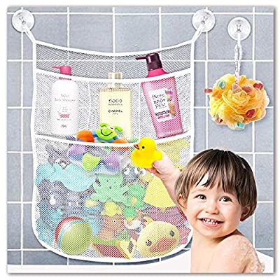 Yihoon Bath Toy Organizer Shower Caddy - for Bathroom Baby Toy Storage Quick Dry Bathtub Mesh Net + 4 Soap Pockets with Suction Hooks by Yihoon