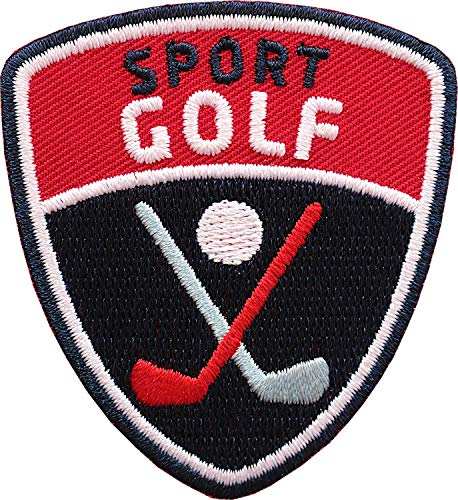 Club of Heroes 2 x Golf Sport Abzeichen 55 x 60 mm gestickt/Golfball Golfschläger Golfsport Turnier/Aufnäher Aufbügler Badge Flicken Wappen Patch für Kleidung Mode Tasche
