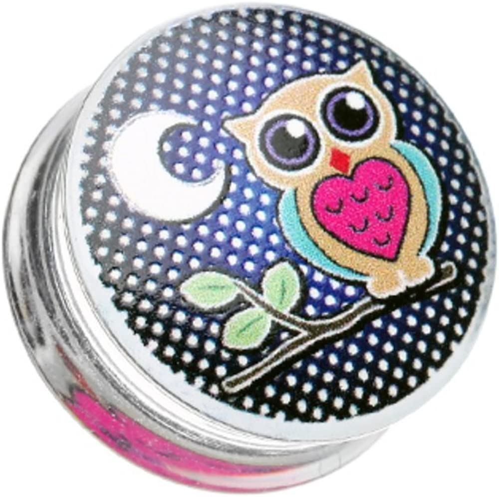 Covet Jewelry Midnight Owl Clear UV Double Flared Ear Gauge Plug