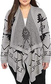 69cfd6a4f3a PINK ROSE Juniors Plus Size Geo Intarsia Flyaway Cardigan Sweater