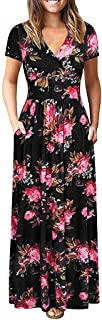 Women's Wrap V Neck Long Dress Short Sleeve Floral Print High Waist Flowy Pleated Party Cocktail Maxi Dresses with Pockets