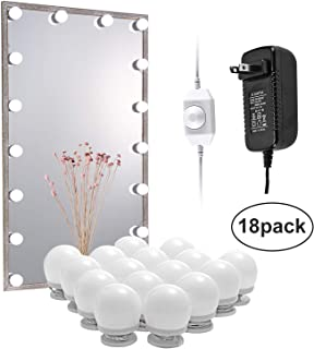 AIBOO LED Vanity Mirror Lights Kit, Hollywood Style Lighted Vanity Mirror for Dressing Table, Dimmable Adapter Plug in, Linkable Flexible Vanity Set, Mirror Not Included (18 Bulbs Daylight White)