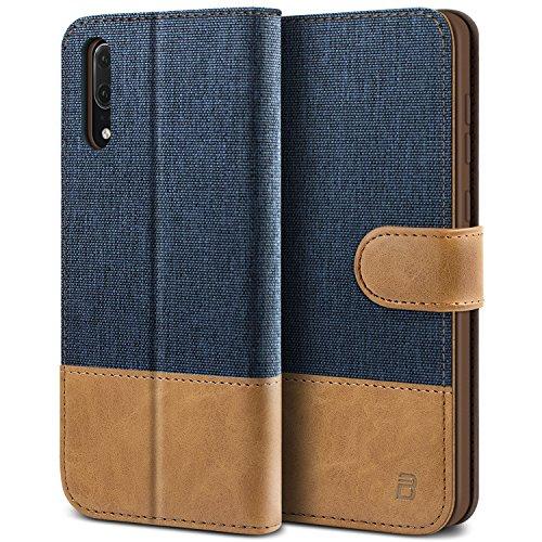 BEZ Hülle für Huawei P20 Hülle, Handyhülle Kompatibel für Huawei P20, Handytasche Schutzhülle Tasche Hülle [Stoff & PU Leder] mit Kreditkartenhaltern, Blaue Marine