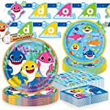 Unique Baby Shark Dinnerware Party Bundle | Dinner & Dessert Plates, Luncheon & Beverage Napkins | Great for Themed Parties and Kid Birthdays - Officially Licensed by Unique