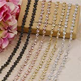 Rose Gold Black Crystals Rhinestone Chain Trim Diamond Belts Trimming for DIY Clothes Accessory Dress Belts Headpiece Jewelry Making (Gold)