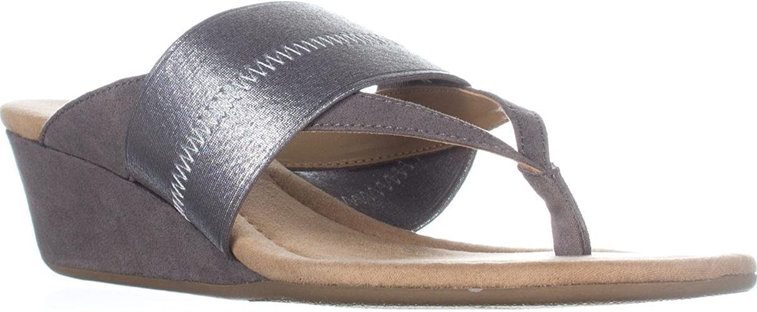 Alfani A35 Viiva Slide Wedge Sandals - Silver