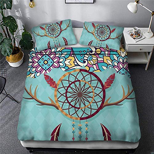 Evvaceo Child Bedding Set 3 Pieces Duvet Cover Retro Bohemian Ethnic Wind Antlers 135 Cm X 200 Cm With 2 Pillowcases 3D(individual)