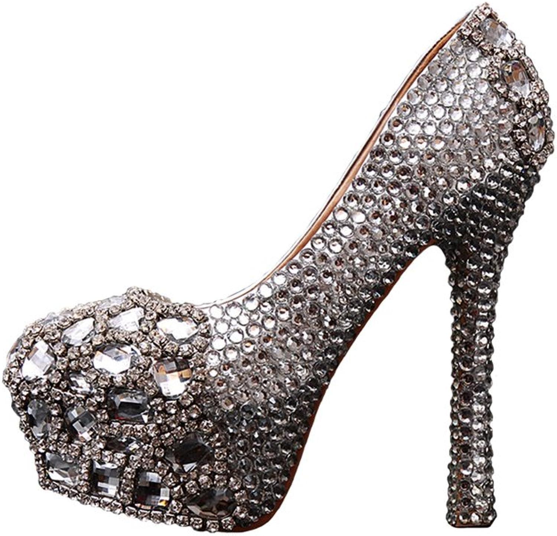 BoShi Women's Beaded High Heel Pump Wedding Bridal shoes