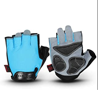 HNBY Half Finger Riding Gloves, Road Cross-Country Gloves, Sports Storage, Wear-Resistant Breathable Moisture Absorption Gloves (Color : Blue, Size : XL)