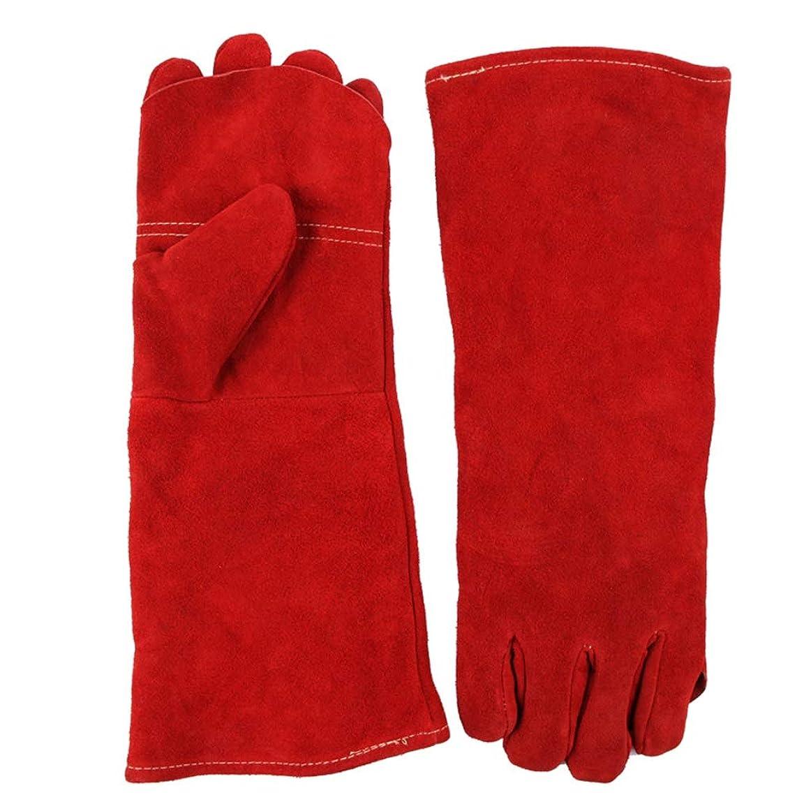 ハリウッド神話置くためにパックIUYWL手袋 革溶接手袋ダブル厚い長いセクション抗咬傷抗火傷防止手袋赤30センチ×40センチ IUYWL手袋