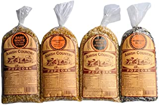Amish Country Popcorn | 4lb Variety Gift Set | 1lb Baby White, 1lb Medium White, 1lb Ladyfinger & 1 lbMidnight Blue Kernels | Old Fashioned, Non GMO, Gluten Free, Microwaveable and Kosher with Recipe