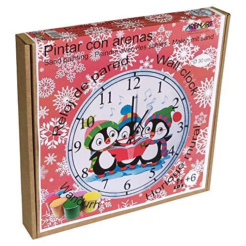 Arenart   Lámina Reloj Pingüinos Ø30 cm   para Pintar con Arenas de Colores   Manualidades para Niños   Dibujo Infantil   Pintar por números   +6 años