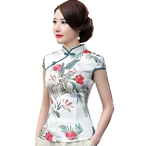 8f05aa9ff21c90 Shanghai Story Women's Faux Silk Tang Suit Chinese Shirt Blouse Top