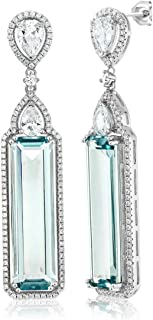 925 Sterling Silver Simulated Aquamarine Art Deco Dangle Earrings 12.00 Ctw 2 Inch