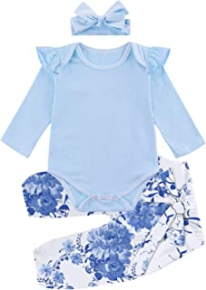 Kids4ever Baby Girl Outfits Ruffle Romper + Long Pants with Headband 3pcs Suit for 0-24 Months