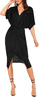 Women's Short Sleeve V Neck Twist Front Split Midi Dress
