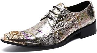 YOWAX Zapatos de Cuero de los Zapatos de Cuero de los Hombres del Metal del Dedo del pie para Casquillo de la Manera Infor...