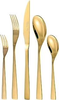 Otto Koning - Berlín - Set cubiertos de 30 piezas de acero inoxidable chapado en titanio dorado y pulido brillante , espesor 4 mm y cuchillo chuletero. Una cubertería de mesa moderna para 6 comensales