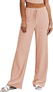 NIMIN Women's Casual Comfy Drawstring Elastic Waist Pants Loose Elegant Ribbed Knit Solid Chic Pants
