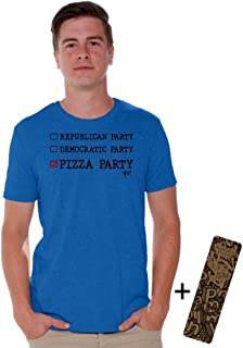 Awkwardstyles Republican Democratic Pizza Party T-Shirt Black Shirt + Bookmark