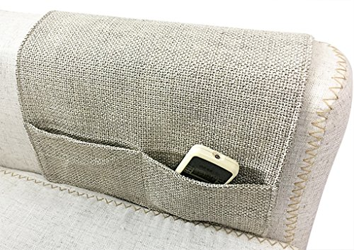 Cotton Linen Couch Sofa Armrest Organiser Chair TV Remote Holder Bed Storage Bag with 4 Pockets Non-slip Soft Caddy Organizer Holder Space Saver for Phone Glasses Magazines DVD Snacks Holder Pouch