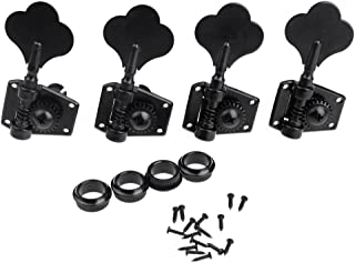 Musiclily 4-in-line Open Gear Bass Tuners Tuning Pegs Keys Machine Heads Set, Black(4 Pieces)