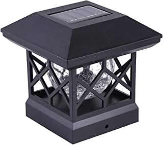 Solar Post Cap Lights Outdoor - Waterproof LED Fence Post Solar Lights for 4x4 Wood Posts in Patio, Deck or Garden Decoration