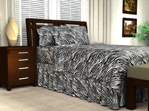 Black/White Zebra Print Satin Flat Sheet, Twin