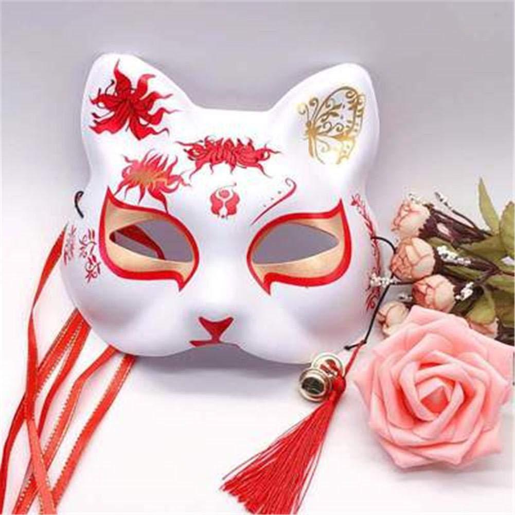 Bestlle Máscara de zorro japonés, máscara de media cara pintada a ...