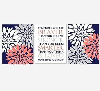 Coral Navy Blue Flower Dahlia Mums Remember You Are Braver Baby Girl Nursery Decor Bedroom Prints 3 UNFRAMED PRINTS