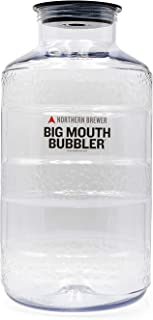 Northern Brewer - Big Mouth Bubbler PET Plastic Carboy Fermenter With Wide Mouth Universal Single Port Lid For Fermentation Of Home Brewing And Wine Making (6.5 Gallon Plain)