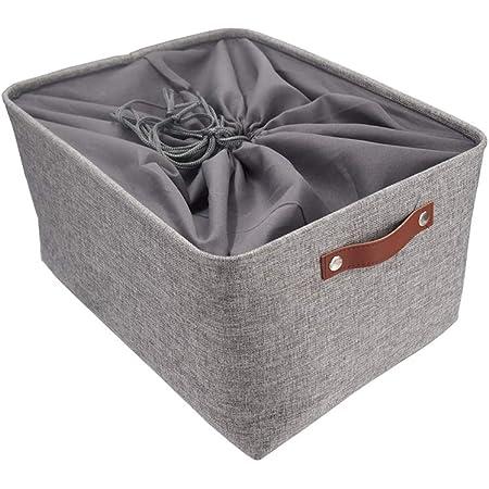 Mangata Grande Capacité de Panier de Rangement, Boîte de Rangement Pliant de Tissu de Toile Utilisé pour Armoire, Dressing, Penderie (Gris, XXLarge)
