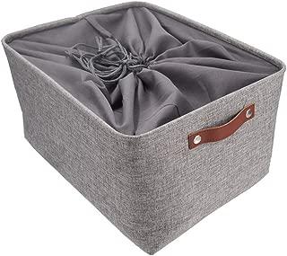 Homfa 2er Set Faltbar Aufbewahrungskorb Aufbewahrungsbox mit Griffen aus Bambus und Oxford-Tuch Grau 38x26x16cm Ordnungsbox Regalbox Faltbox Spielzeugkorb Filzkorb