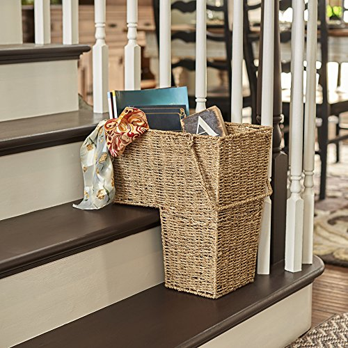 Household Essentials ML-5647 Seagrass Wicker Stair Step Basket with Handle | Natural Brown