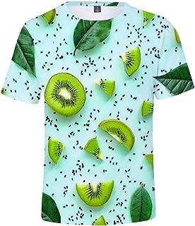 AMOMA Unisex Fruit Printed Watermelon Lemon Kiwifruit T-Shirt Casual Tops Tees for Teenagers