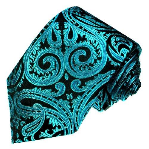 Lorenzo Cana - Marken Krawatte aus 100{db28b344acc37e2c0bc8136f17de77bd8093f5204fcebb5b00b203f3fc3bf58c} Seide - petrol tuerkis Paisley Binder - 84442