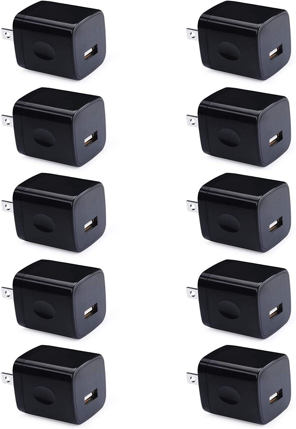 Charger Adapter, UorMe 1A 5V 10 Pack Single Port Wall Charger Power Adapter Cube Block Box Compatible Phone SE (2020) 11 Xs XR X 8 7 6S 6, Samsung Galaxy A20 A71 A51 A31 M51 S10e S9 S8,G8 V70 V35 G6