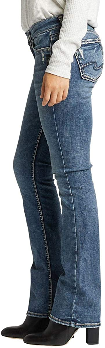 Silver Jeans Elyse Relaxed Fit Mid Rise Slim Bootcut Jeans Femme Indigo Délavé.