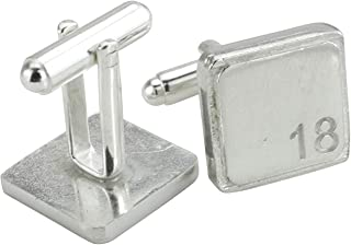 Square Cufflinks with '18' Engraved - 18th Anniversary
