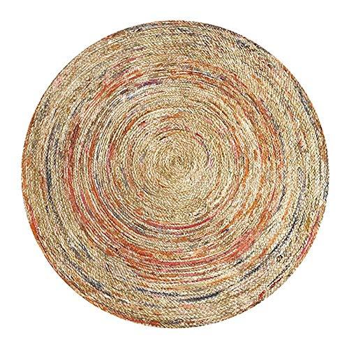 LHSOO Teppichbodenmatte Ethnischer geometrischer weicher runder Teppich für Wohnzimmer Blumenblumenbodentürstuhl Babyspielmatte Pad Wohnzimmer Schlafzimmer Teppiche Durchmesser160CM 2