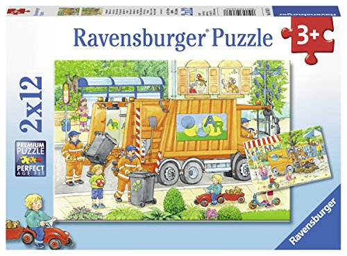 Ravensburger Kinderpuzzle 07617 - Unterwegs mit Müllabfuhr und Kehrmaschine - 2 x 12 Teile