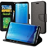 Samsung Galaxy S8 SM-G950 PU Leather Wallet Case Designers ID Card Slots Shock Impact Full Body Protection Flip Kickstand Bling case (Carbon Fiber Black)