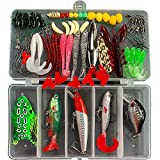 Fishing Lures Kit Set with Tackle Box Fishing Gear Equipment for Freshwater Trout Bass Salmon Fishing Baits Kit Including Frog Lure Spoon Lures CrankBait Jigs Topwater Lures (70pcs Fishing Lures)