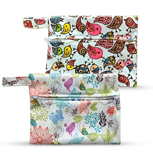 Dutchess Pads Panties Diapers Storage Wet Bag 2-Pack Floral Bird Print