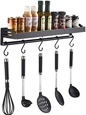 Olakee Coffee Mug Holder, Rustic Mug Rack Wall Mounted with Coffee Sign 12 Coffee Cup Hangers for Kitchen Organizer, Coffee Nook Decor (Carbonized