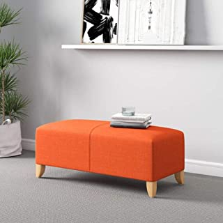 YCSD Rectangular Footstools & Ottomans,Simple Modern Washable Fabric Living Room Sofa Bench Bedroom Bed End Stool Footrest (Color : Orange, Size : 120cm)