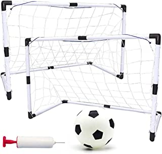 طقم كرة قدم قابل للطي وقابل للحمل من قطعتين للأطفال، أهداف كرة القدم الرياضية للشباب مع مضخة كرة شبكية للأطفال